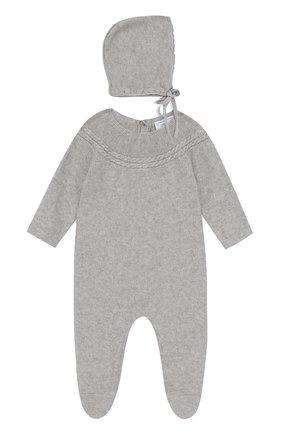 Детский комбинезон и шапка из смеси хлопка и кашемира TARTINE ET CHOCOLAT серого цвета, арт. TK99011 | Фото 1