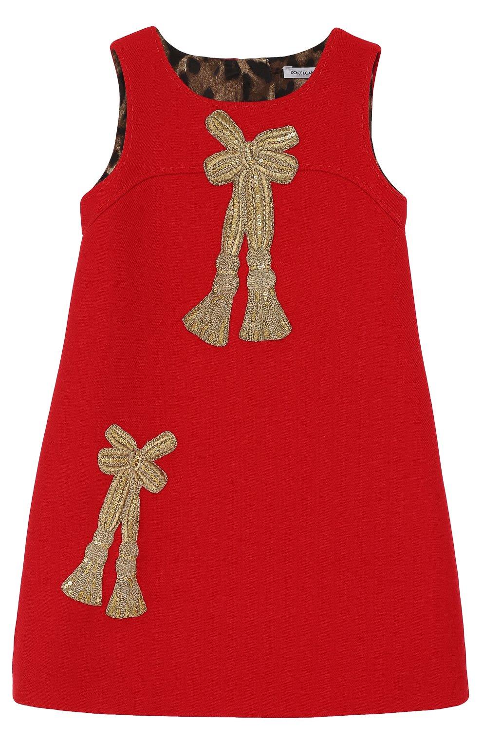 Шерстяное мини-платье с аппликациями и пайетками | Фото №1