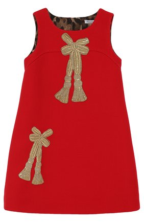 Детское шерстяное мини-платье с аппликациями и пайетками Dolce & Gabbana красного цвета | Фото №1