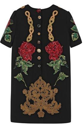 Детское мини-платье с аппликациями и пайетками Dolce & Gabbana черного цвета | Фото №2