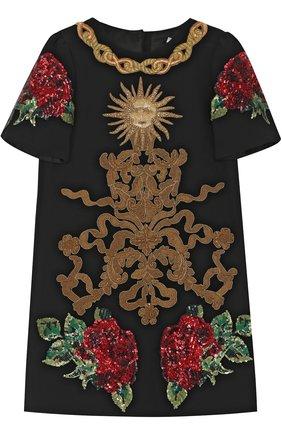 Детское мини-платье с аппликациями и пайетками Dolce & Gabbana черного цвета   Фото №1
