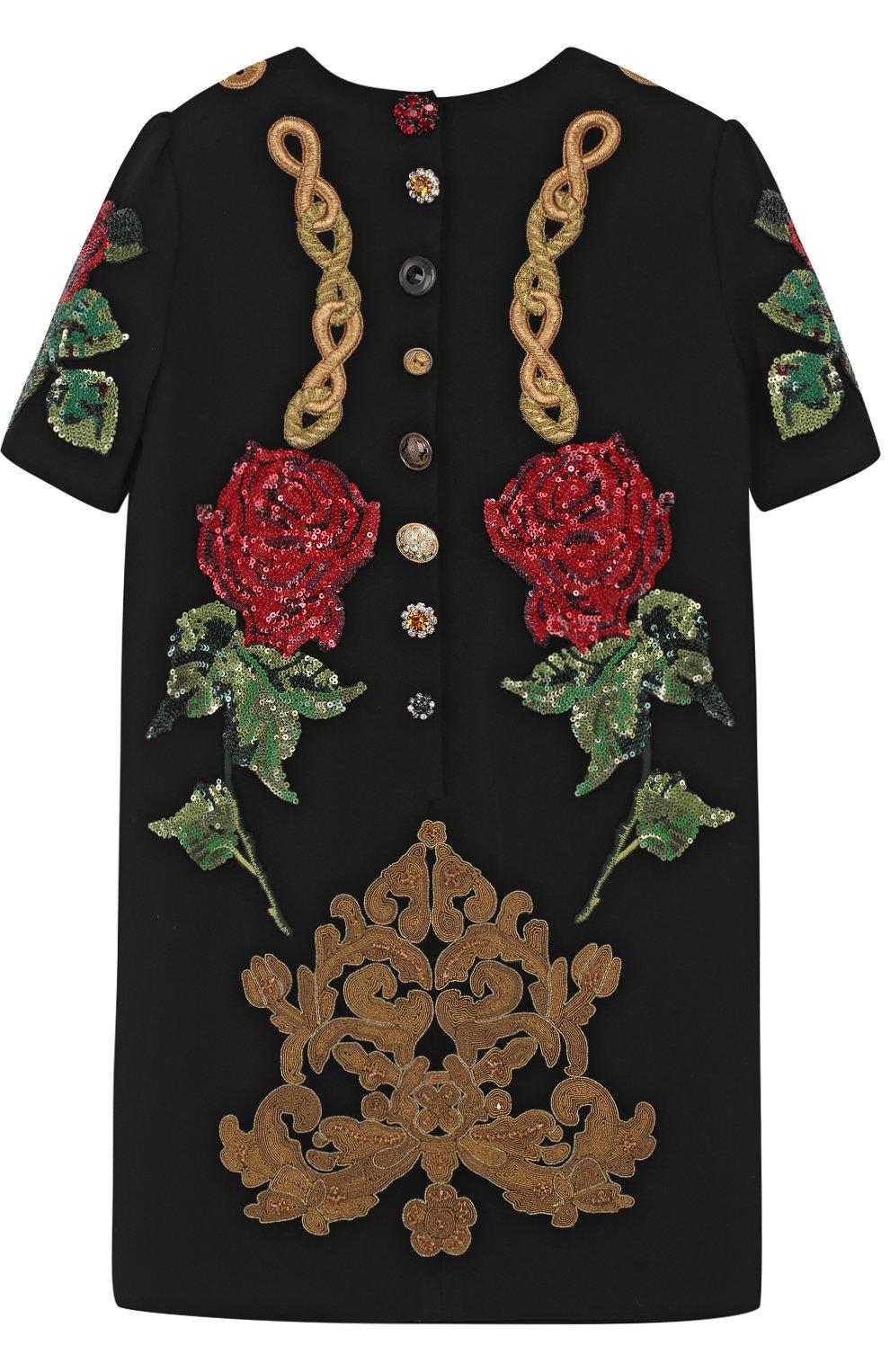 Детское мини-платье с аппликациями и пайетками Dolce & Gabbana черного цвета   Фото №2