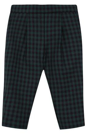 Детские брюки из шерсти в клетку с эластичной вставкой на поясе GUCCI зеленого цвета, арт. 475401/XB818   Фото 1 (Статус проверки: Проверено, Проверена категория; Материал подклада: Купро; Материал внешний: Шерсть)