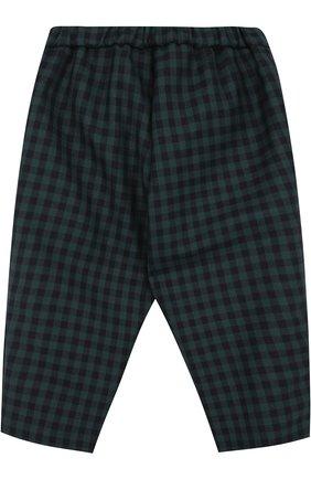 Детские брюки из шерсти в клетку с эластичной вставкой на поясе GUCCI зеленого цвета, арт. 475401/XB818   Фото 2 (Статус проверки: Проверено, Проверена категория; Материал подклада: Купро; Материал внешний: Шерсть)