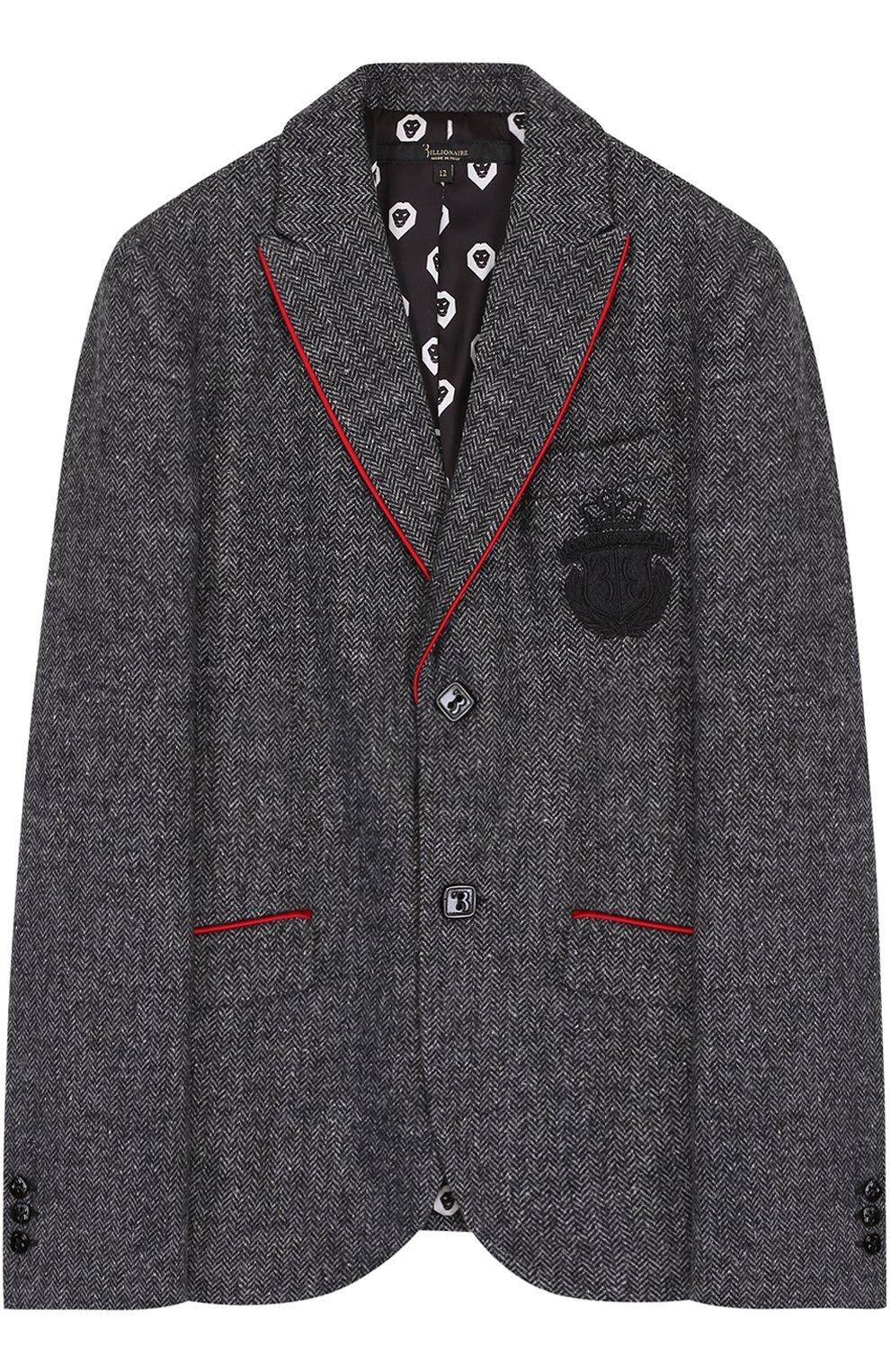 Однобортный пиджак с вышивкой | Фото №1