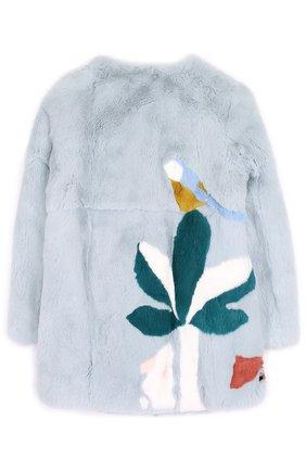 Шуба из меха кролика с принтом Yves Salomon Enfant голубого цвета | Фото №1