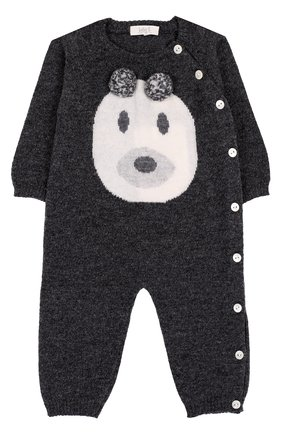Комбинезон из смеси шерсти и кашемира с принтом Baby T серого цвета | Фото №1