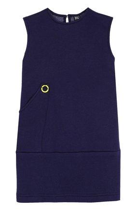 Детское мини-платье из хлопка и полиэстера с карманом Leoca синего цвета | Фото №1