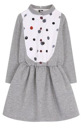 Детское хлопковое мини-платье с контрастной вставкой Leoca серого цвета | Фото №1