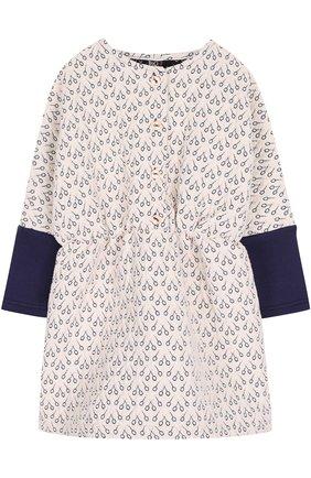 Мини-платье с принтом и контрастными манжетами | Фото №1