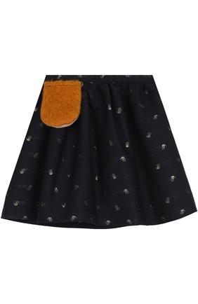 Юбка свободного кроя с принтом и декоративным карманом | Фото №1