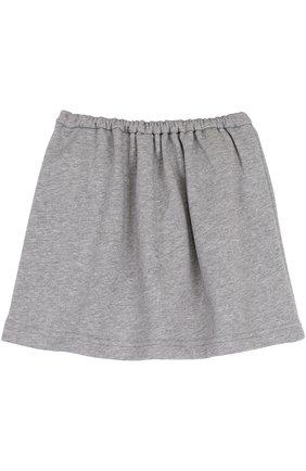 Детская юбка джерси свободного кроя с декоративным карманом Leoca серого цвета | Фото №1