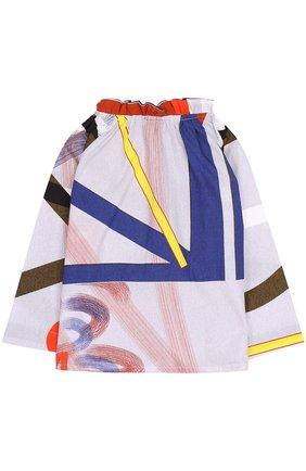 Хлопковая блуза с контрастным принтом и оборкой | Фото №2