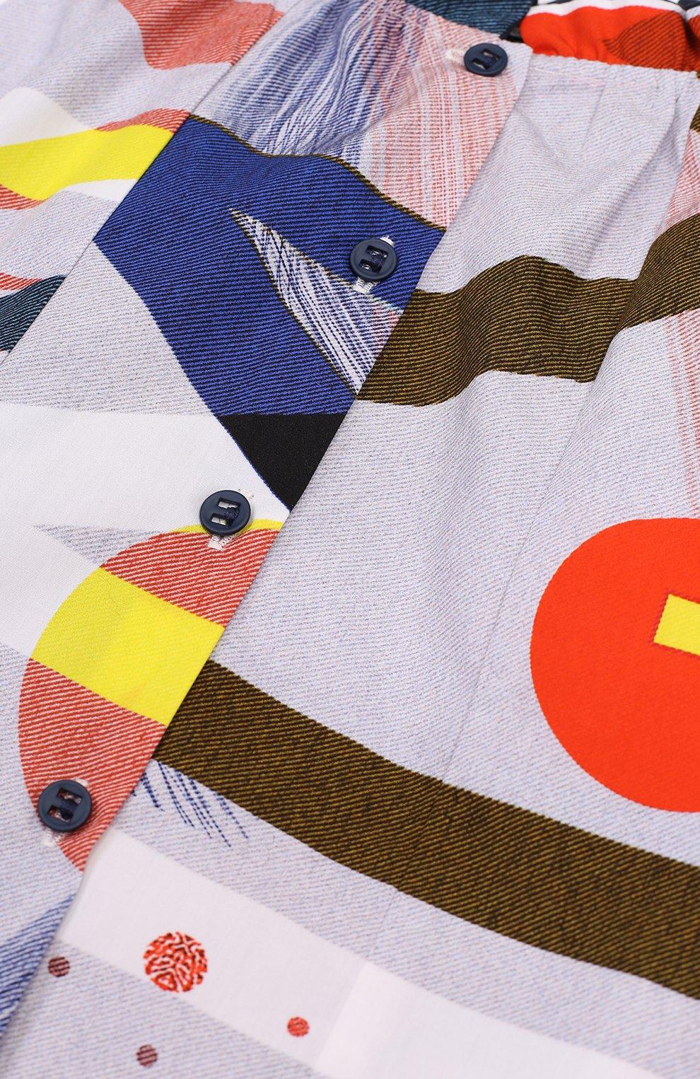 Хлопковая блуза с контрастным принтом и оборкой | Фото №3