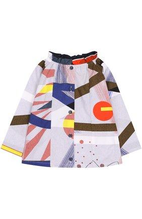 Детская хлопковая блуза с контрастным принтом и оборкой Leoca разноцветного цвета | Фото №1
