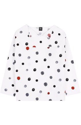 Детская хлопковая блуза с принтом Leoca белого цвета | Фото №1