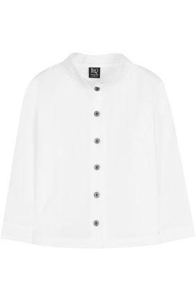 Детская хлопковая блуза с воротником-стойкой Leoca белого цвета | Фото №1