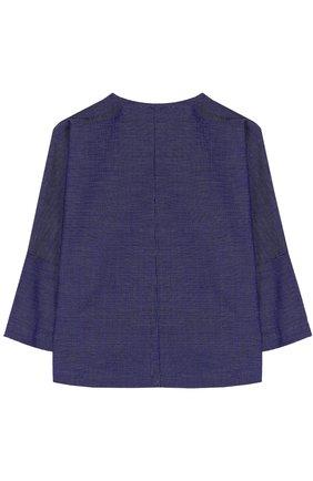 Детская хлопковая блуза прямого кроя Leoca синего цвета | Фото №1