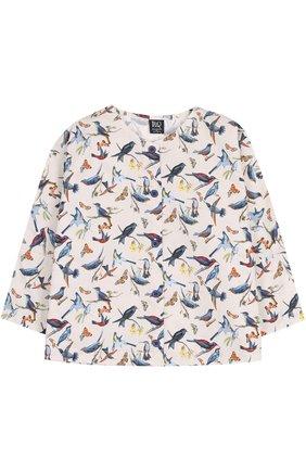 Хлопковая блуза прямого кроя с принтом | Фото №1