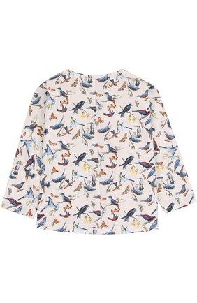 Детская хлопковая блуза прямого кроя с принтом Leoca разноцветного цвета | Фото №1
