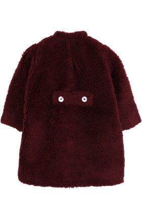 Пальто прямого кроя из шерсти и хопка Leoca бордового цвета | Фото №1