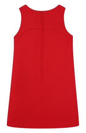 Детское шерстяное мини-платье с аппликациями и пайетками Dolce & Gabbana красного цвета | Фото №2