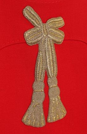 Детское шерстяное мини-платье с аппликациями и пайетками Dolce & Gabbana красного цвета | Фото №3