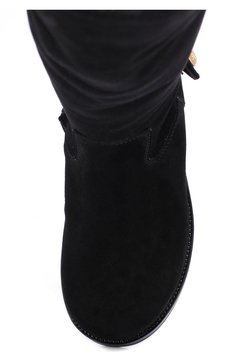 Детские замшевые сапоги Dolce & Gabbana черного цвета | Фото №4