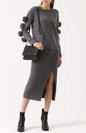 Кашемировый пуловер с фактурной отделкой Not Shy серый   Фото №1