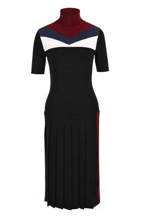 Платье с юбкой в складку и высоким воротником | Фото №1