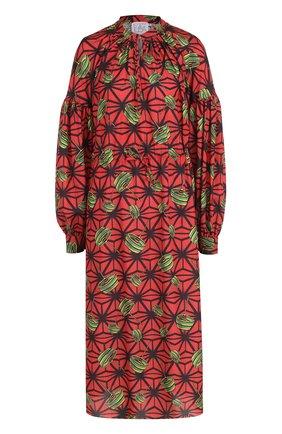Приталенное платье-миди с ярким принтом | Фото №1