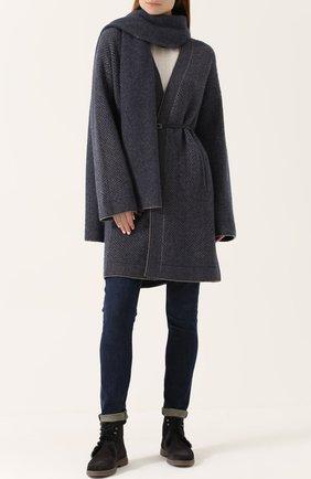 Женский пальто из смеси кашемира и шелка с поясом LORO PIANA синего цвета, арт. FAG3664   Фото 2