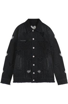 Джинсовая куртка свободного кроя с прозрачными вставками | Фото №1