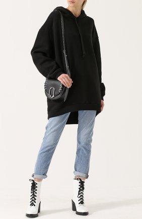 Хлопковая толстовка свободного кроя с капюшоном Agolde черный | Фото №1
