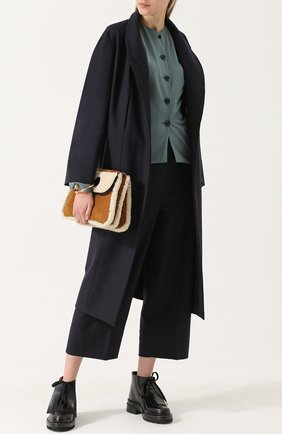 Однотонное шерстяное пальто свободного кроя Christophe Lemaire темно-синего цвета | Фото №1