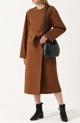 Однотонное хлопковое пальто с поясом Christophe Lemaire кирпичного цвета | Фото №1