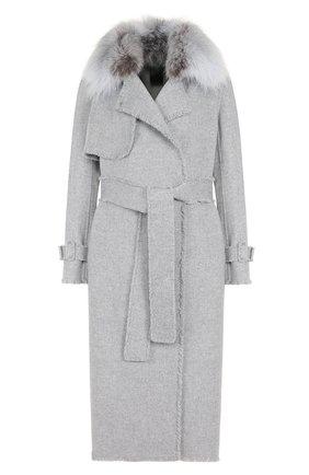 Пальто из смеси шерсти и кашемира с поясом и меховой отделкой | Фото №1