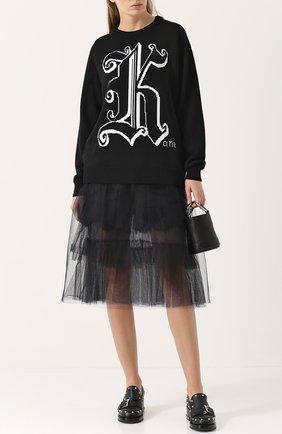 Шерстяной пуловер с круглым вырезом и принтом Christopher Kane черный | Фото №1