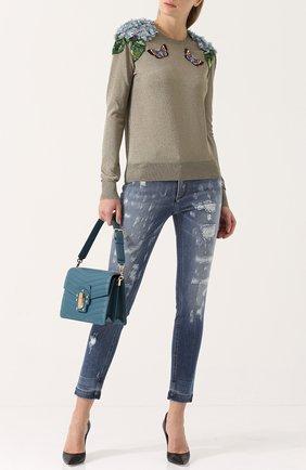 Джинсы-скинни с потертостями Dolce & Gabbana голубые   Фото №2