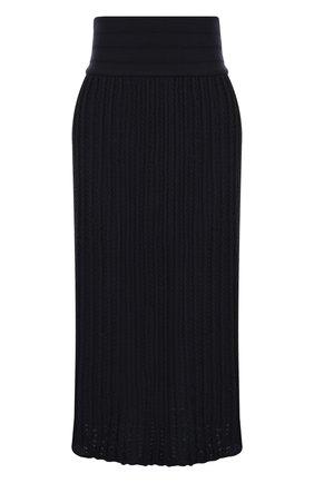 Шерстяная юбка-миди фактурной вязки с широким поясом | Фото №1
