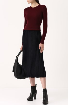 Шерстяная юбка-миди фактурной вязки с широким поясом Molli темно-синяя | Фото №1