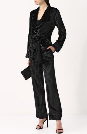 Бархатный костюм в пижамном стиле Equipment черный | Фото №1