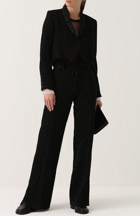 Укороченный бархатный жакет с шерстяной спинкой Ann Demeulemeester черный | Фото №1