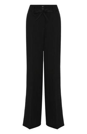 Расклешенные шерстяные брюки с поясом Ann Demeulemeester черные | Фото №1