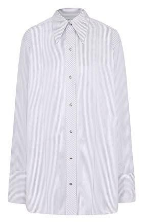 Хлопковая блуза свободного кроя в полоску | Фото №1