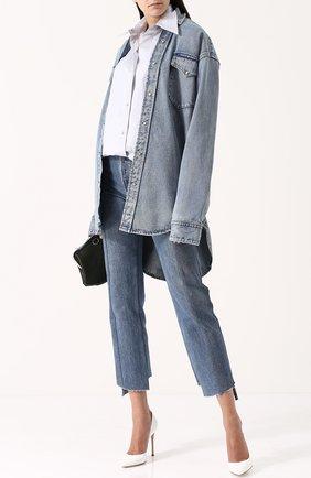Хлопковая блуза свободного кроя в полоску   Фото №2