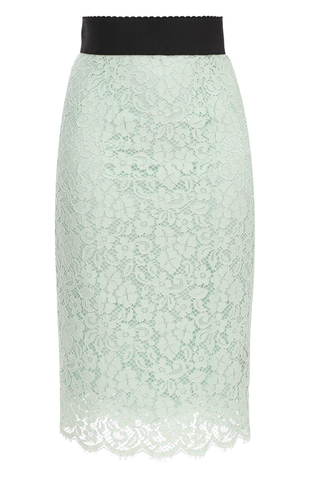 Кружевная юбка-карандаш с контрастным поясом | Фото №1