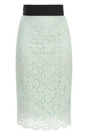 Кружевная юбка-карандаш с контрастным поясом Dolce & Gabbana светло-зеленая | Фото №1