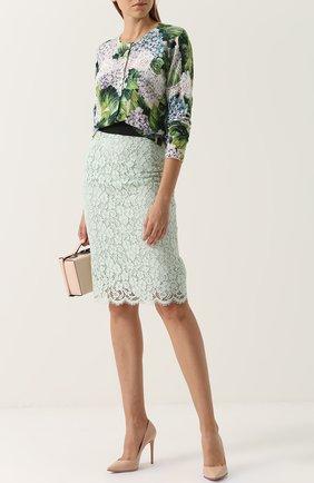 Кружевная юбка-карандаш с контрастным поясом Dolce & Gabbana светло-зеленая | Фото №2