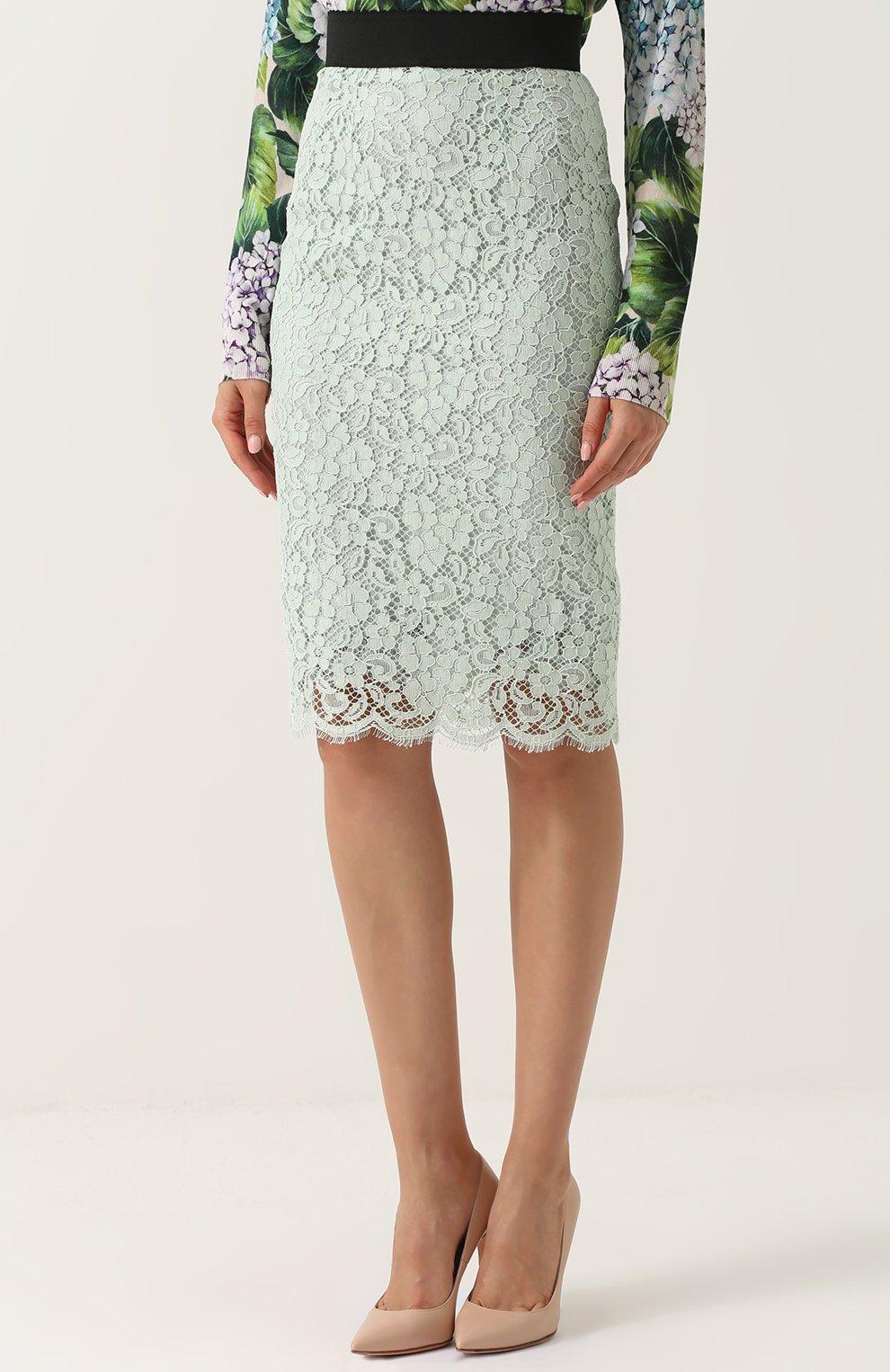 Кружевная юбка-карандаш с контрастным поясом Dolce & Gabbana светло-зеленая | Фото №3